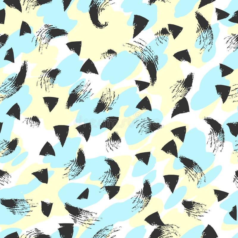 Modèle sans couture grunge abstrait tiré par la main Fond peint avec l'encre illustration stock