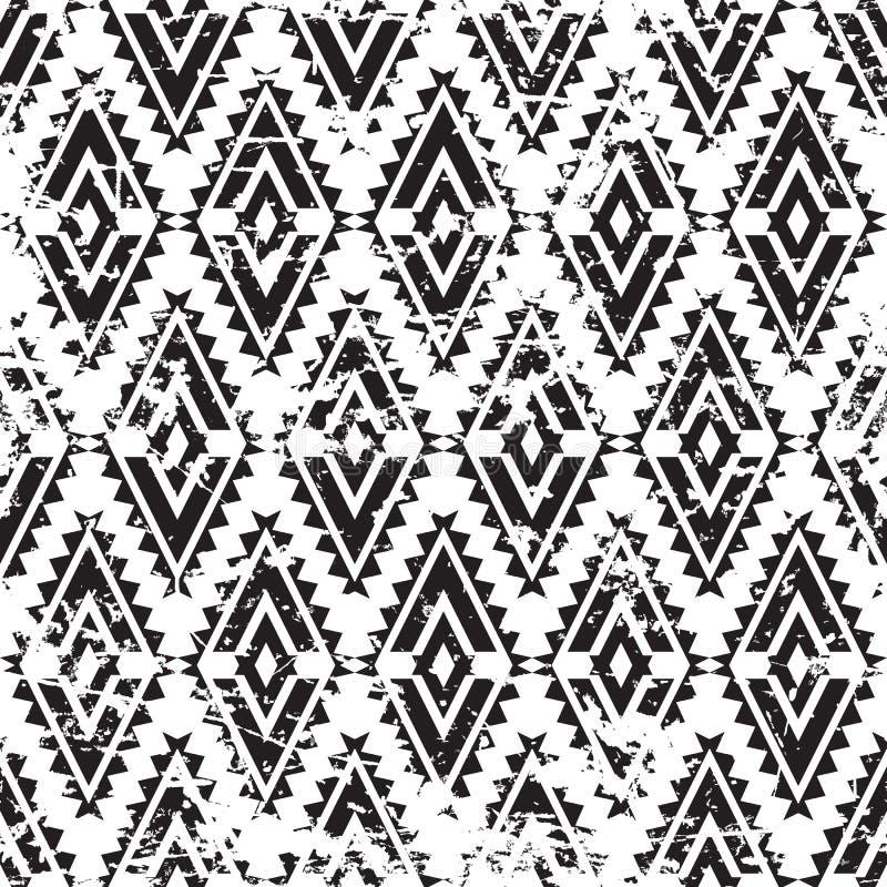 Modèle sans couture grunge d'ornement tribal de vecteur Noir abstrait a illustration de vecteur
