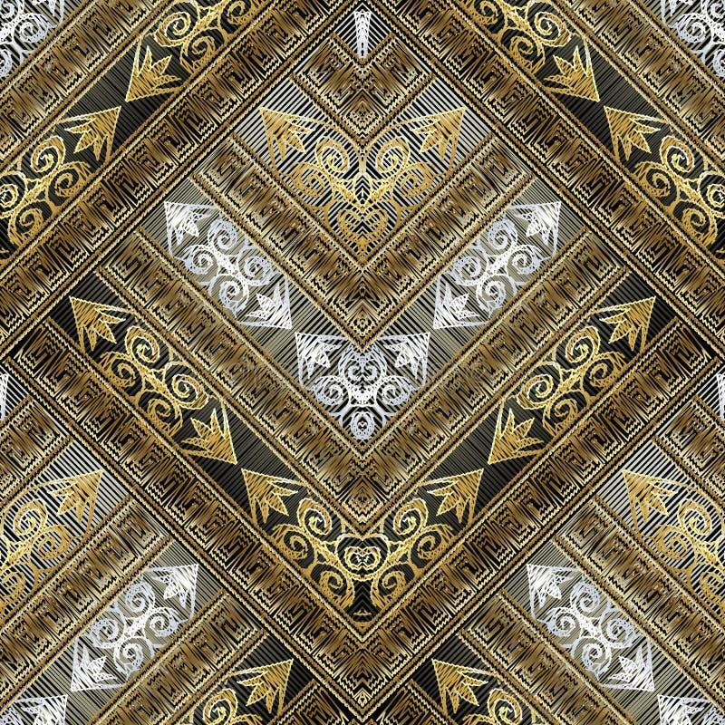 Modèle sans couture grunge de tapisserie avec les ornements principaux grecs illustration de vecteur