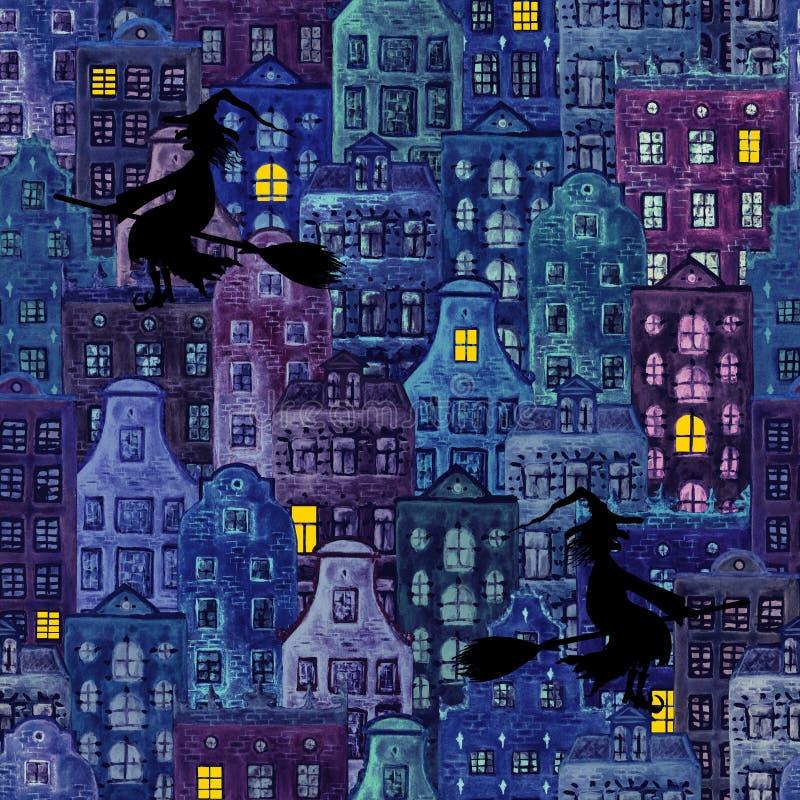 Modèle sans couture grunge de ville de nuit de Halloween avec de vieilles maisons et silhouettes européennes de sorcière de vol illustration libre de droits