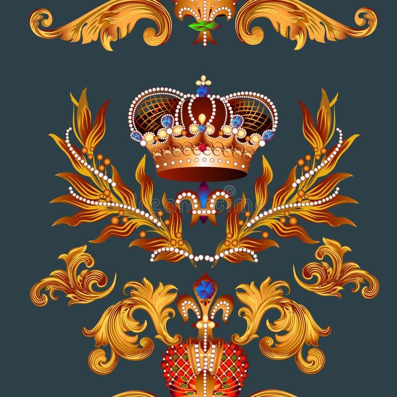 Modèle sans couture héraldique de papier peint avec fleur de lis et couronnes illustration de vecteur