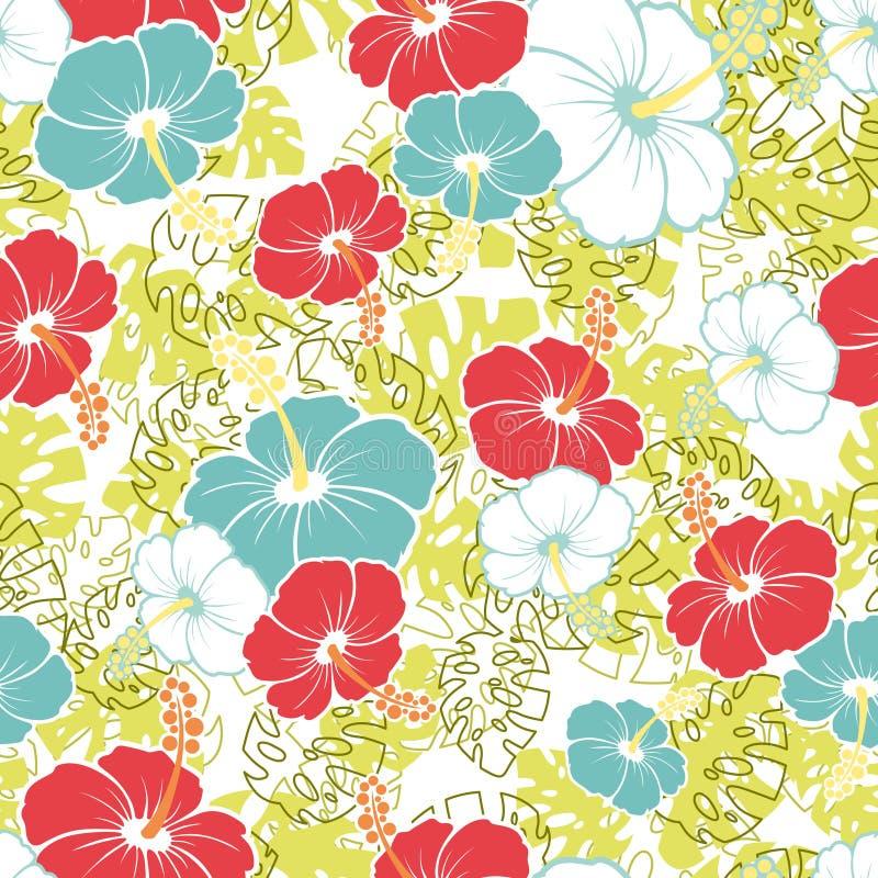 Modèle sans couture hawaïen avec des fleurs de ketmie illustration de vecteur