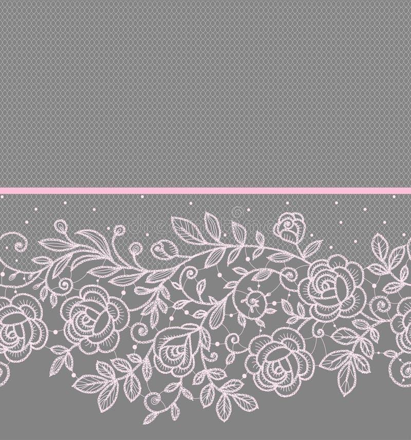 Modèle sans couture horizontal de dentelle rose de roses illustration stock