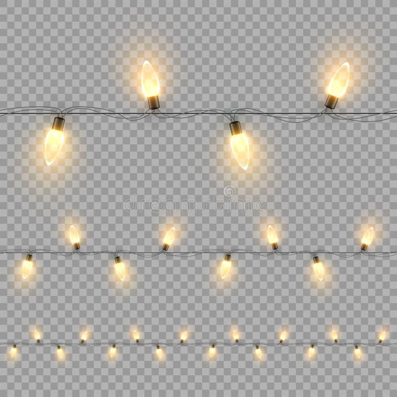 Modèle sans couture horizontal de guirlande d'ampoule de Noël d'isolement sur le fond transparent Éléments de conception de vecte illustration de vecteur