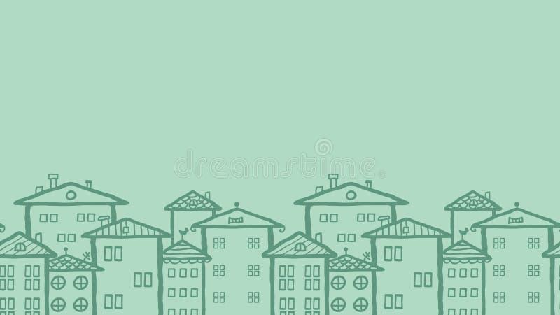 Modèle sans couture horizontal de maisons de ville de griffonnage illustration libre de droits