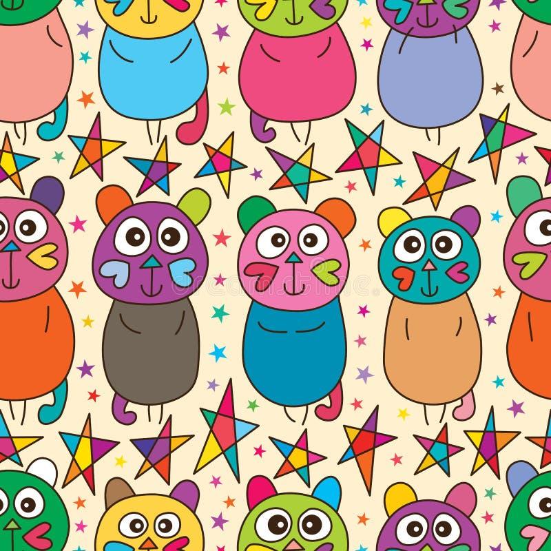 Modèle sans couture horizontal de support mignon de chat d'amour illustration libre de droits