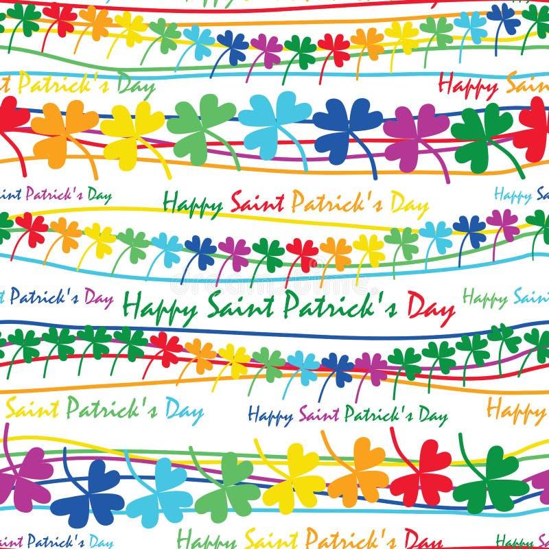 Modèle sans couture horizontal de trèfle d'arc-en-ciel de jour du ` s de St Patrick illustration stock