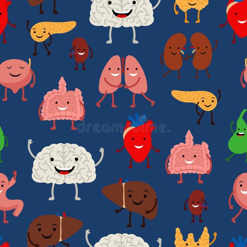 Modèle sans couture humain d'organes internes illustration de vecteur