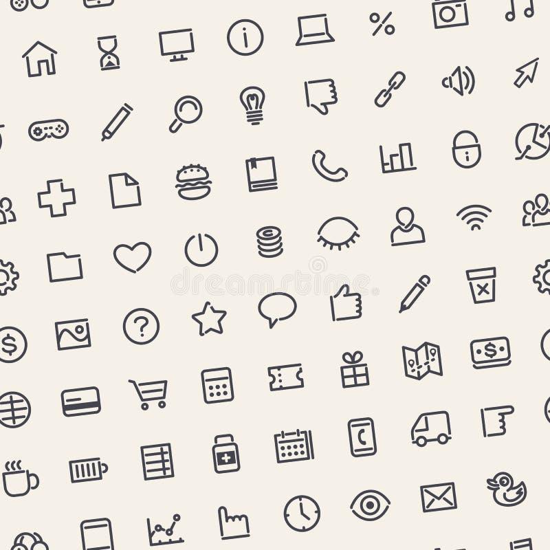 Modèle sans couture incliné par lumière avec les icônes universelles de Web illustration de vecteur