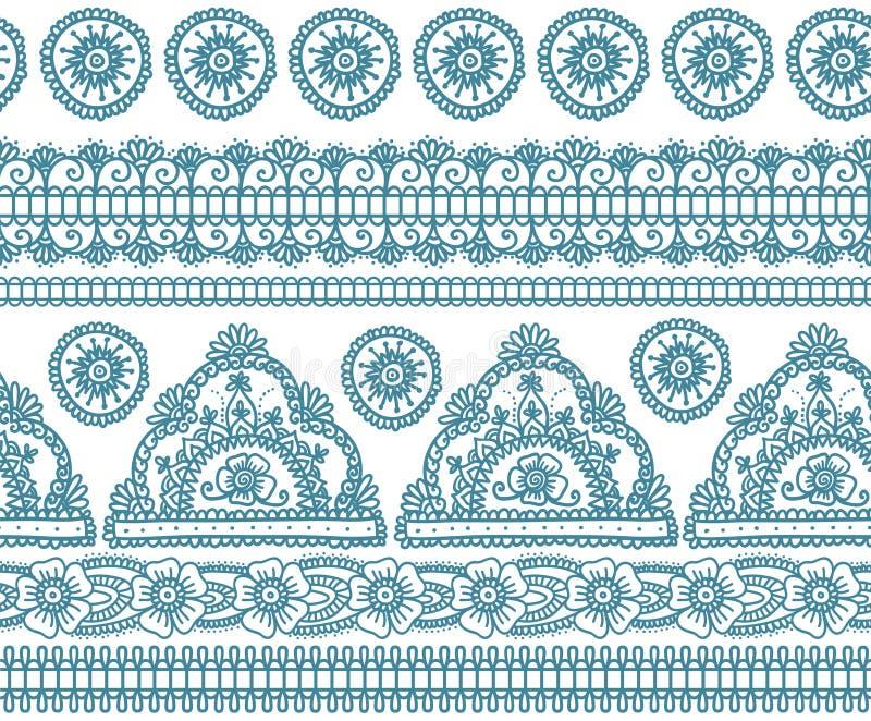 Modèle sans couture indien bleu illustration stock