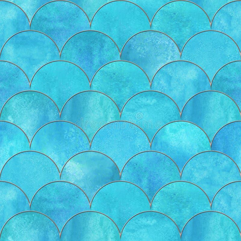 Modèle sans couture japonais de vague d'échelle de poissons de sirène photos libres de droits