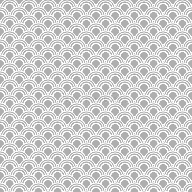 Modèle sans couture japonais de vecteur Fond oriental traditionnel de vague Gris et blanc illustration de vecteur