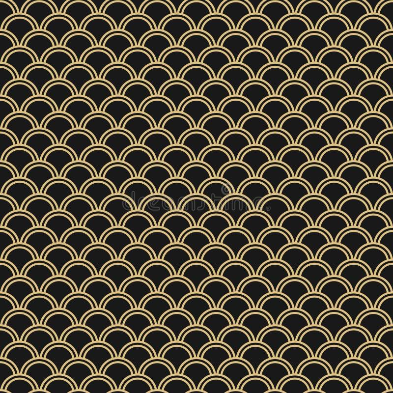 Modèle sans couture japonais de vecteur Fond oriental traditionnel de vague Noir et or illustration libre de droits
