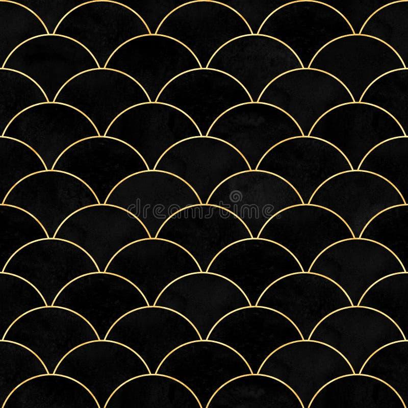 Modèle sans couture japonais de velours de sirène de poissons de vague noire d'échelle illustration de vecteur