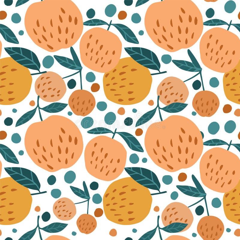Modèle sans couture juteux avec des pommes et des feuilles sur le fond blanc illustration stock