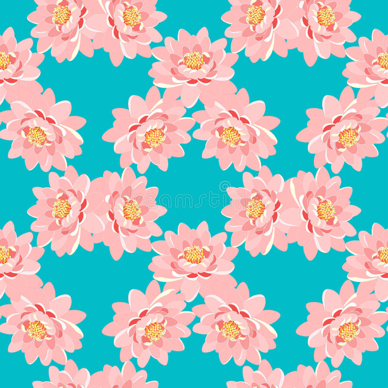 Modèle sans couture le rose de fleur de lotus sur un fond bleu illustration stock