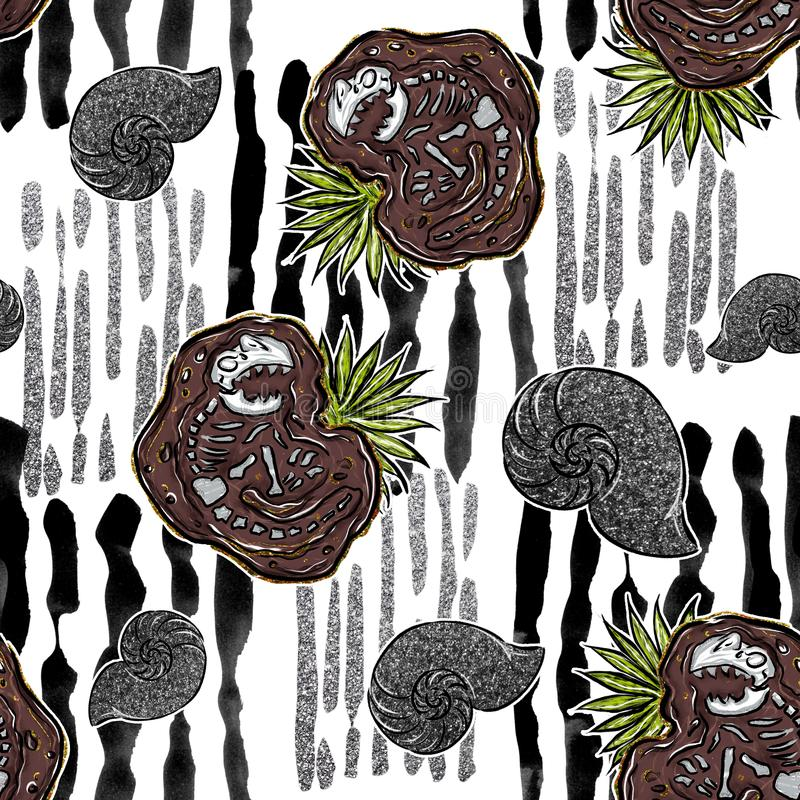 Modèle sans couture - les fossiles de dinosaures et les ammonites sur la brosse verticale frotte des lignes illustration libre de droits
