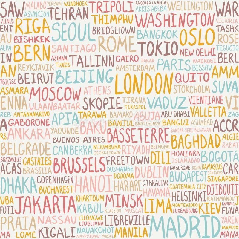 Modèle sans couture - les plus grandes villes du monde Fond de capitaux illustration libre de droits