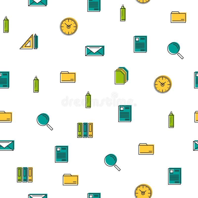 Modèle sans couture - ligne mince icônes de bureau illustration stock