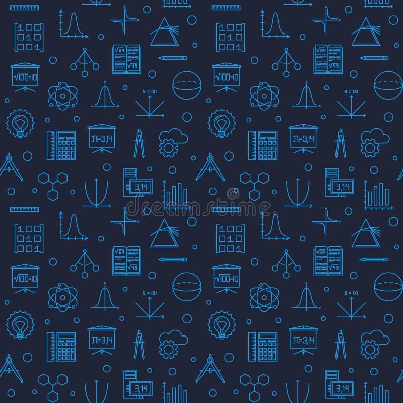 Modèle sans couture linéaire bleu-foncé de vecteur de la Science de TIGE illustration stock