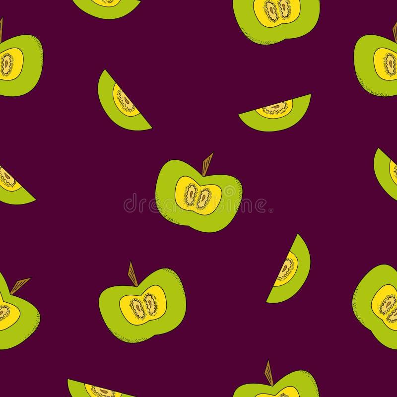 Modèle sans couture lumineux avec de belles pommes illustration de vecteur