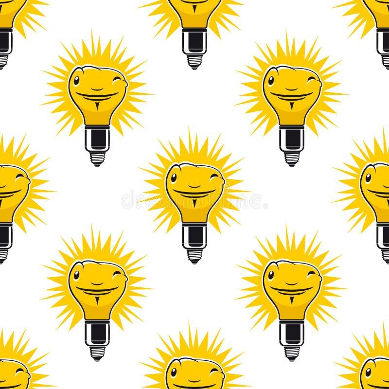 Modèle sans couture lumineux d'ampoules de bande dessinée illustration de vecteur