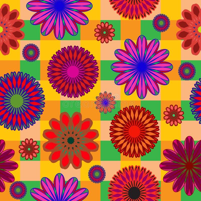 Modèle sans couture lumineux de couleurs abstraites sur le fond à carreaux illustration libre de droits