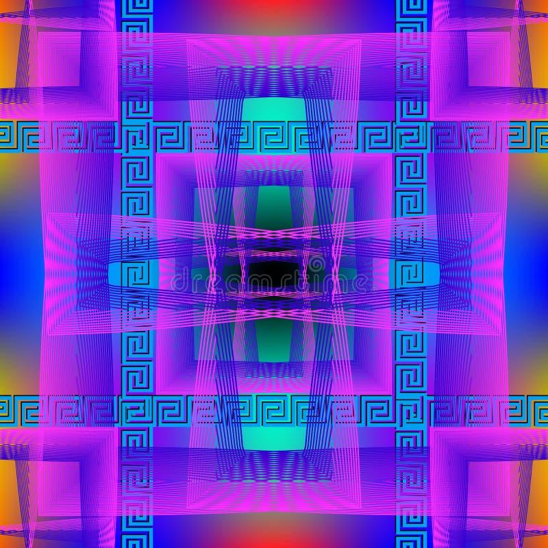 Modèle sans couture lumineux vibrant de vecteur géométrique Fond rougeoyant coloré au néon de grille Contexte de places de répéti illustration de vecteur