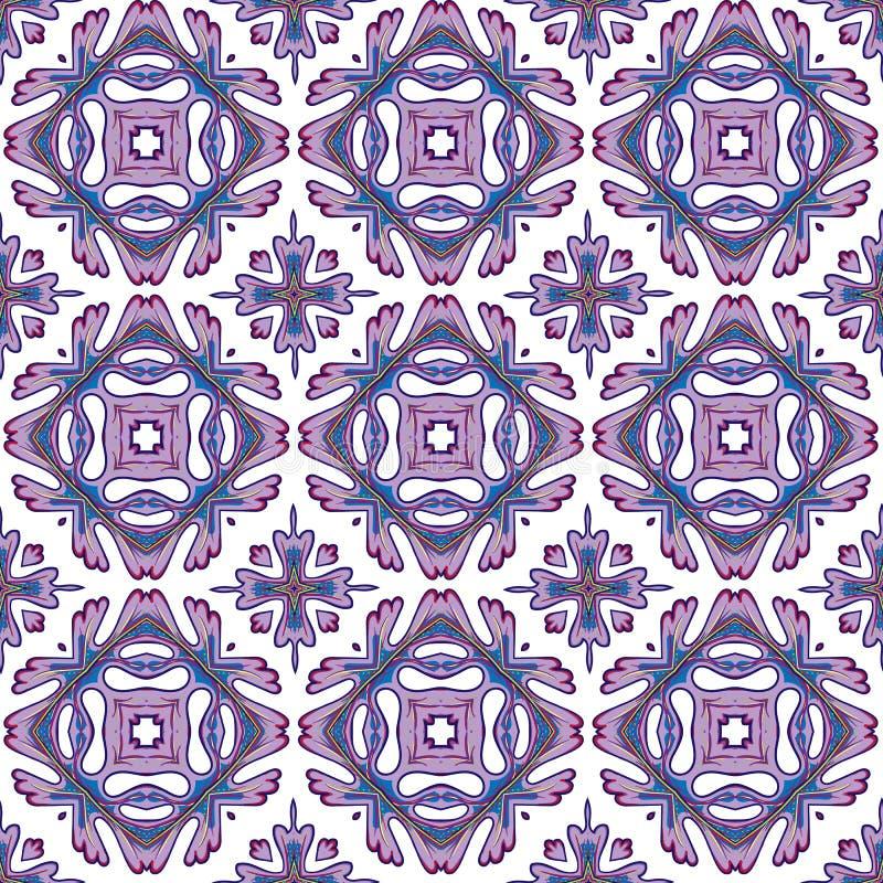 Modèle sans couture magnifique de patchwork des tuiles marocaines colorées, ornements illustration stock