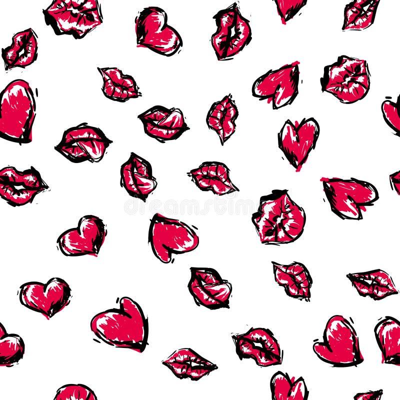 Modèle sans couture mignon aléatoire Fond romantique de couleur Illustration avec des lèvres illustration stock