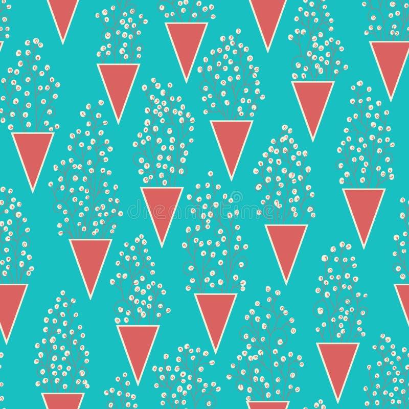 Modèle sans couture mignon avec beaucoup de fleurs de petites brindilles et de vases abstraits à triangles illustration stock