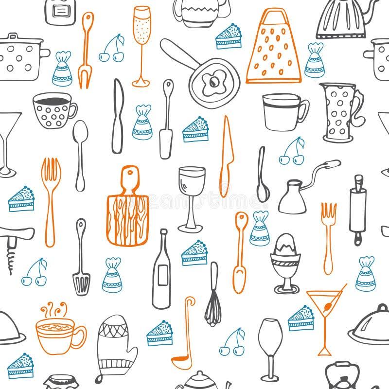Modèle sans couture mignon avec des équipements de cuisine illustration de vecteur