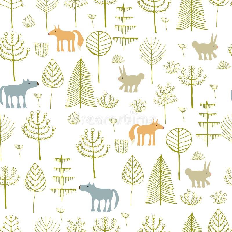 Modèle sans couture mignon avec des animaux d'avants illustration stock