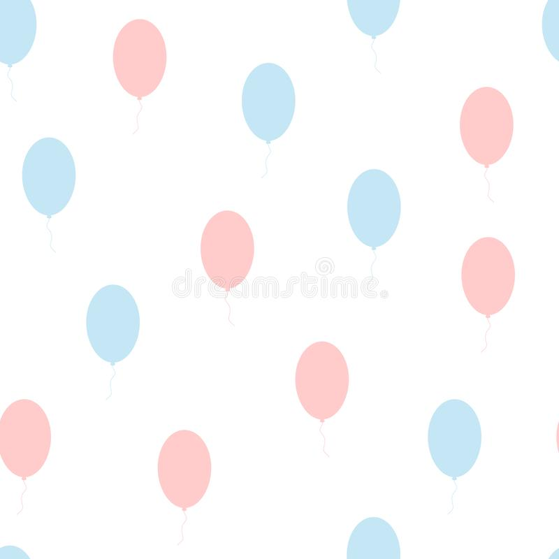 Modèle sans couture mignon avec des ballons Couleur bleue, rose, blanche illustration stock