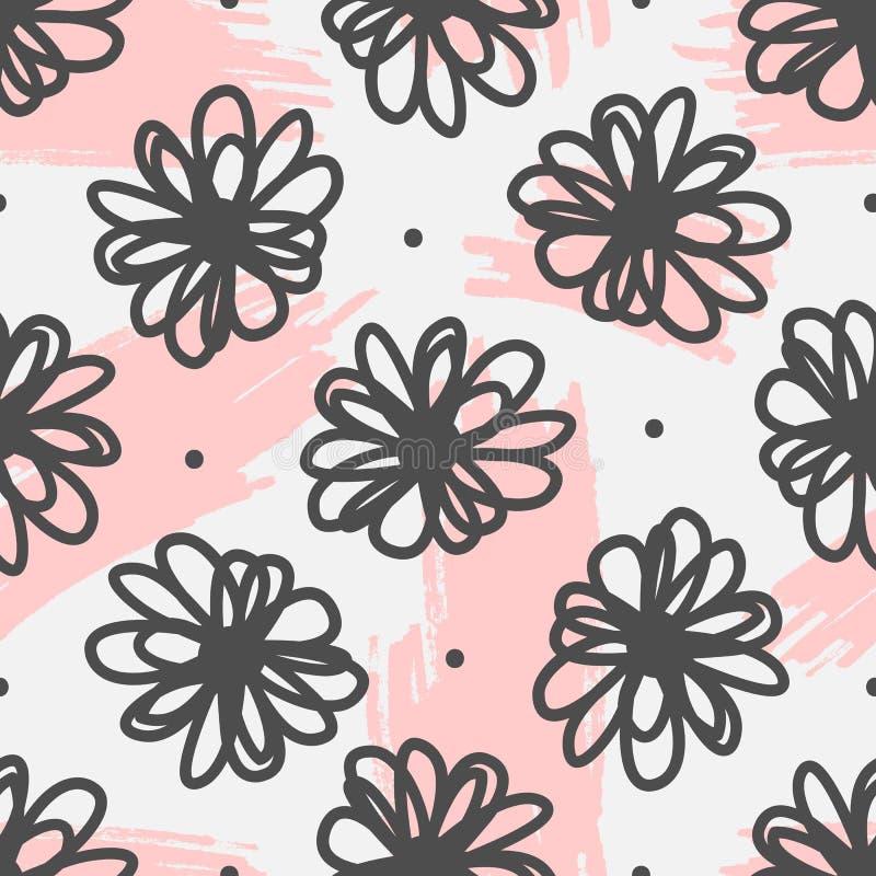 Modèle sans couture mignon avec des fleurs et traçages dessinés à la main illustration de vecteur