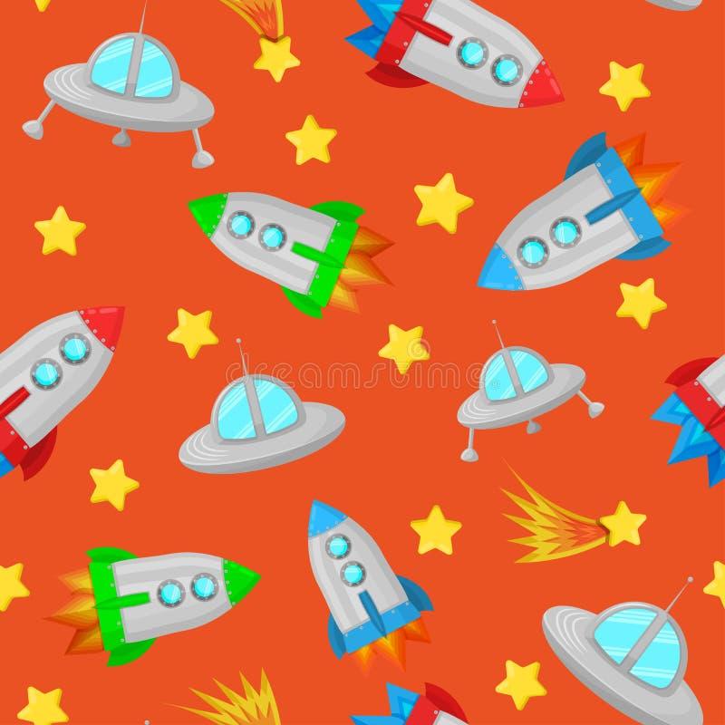 Modèle sans couture mignon avec des fusées, des soucoupes volantes, des étoiles et des comètes Modèle de l'espace des enfants photos libres de droits