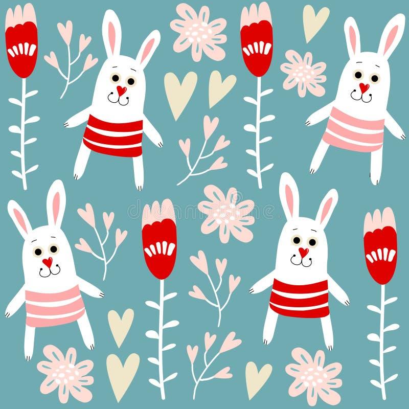 Modèle sans couture mignon avec des lapins, des coeurs et des fleurs, fond d'illustration illustration de vecteur