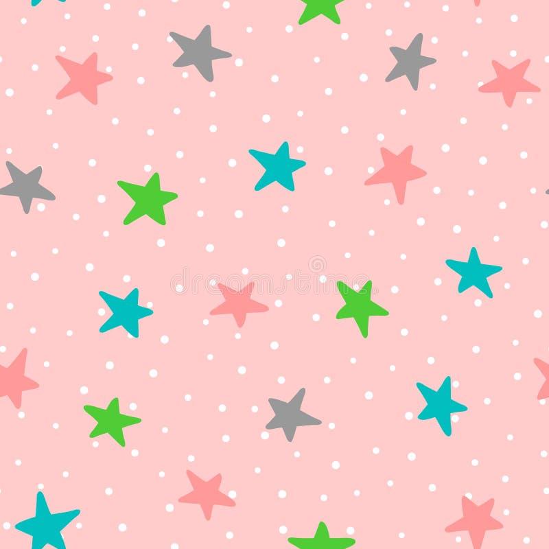 Modèle sans couture mignon avec les étoiles et les points de polka colorés Dessiné à la main illustration stock
