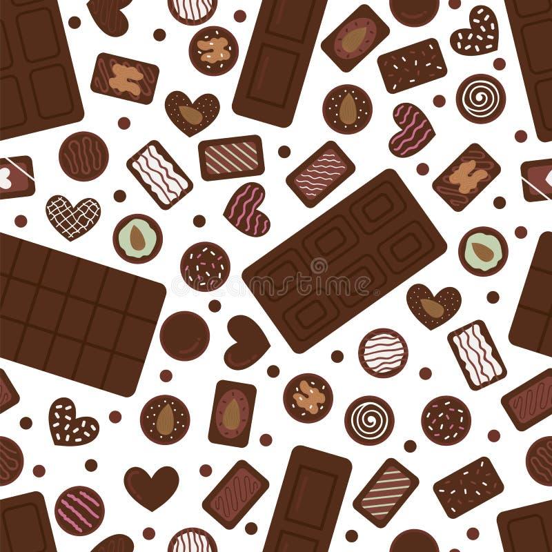 Mod?le sans couture mignon avec les bonbons au chocolat et les barres tir?s par la main Fond de bonbon ? bande dessin?e Assorti d illustration stock