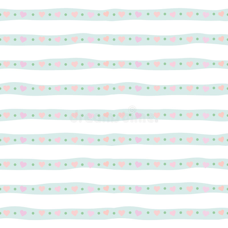 Modèle sans couture mignon avec les rayures tirées par la main dans le bleu en pastel Pour la copie et le Web illustration de vecteur