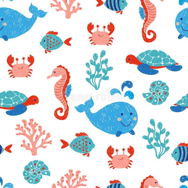Modèle sans couture mignon d'animaux de mer illustration stock