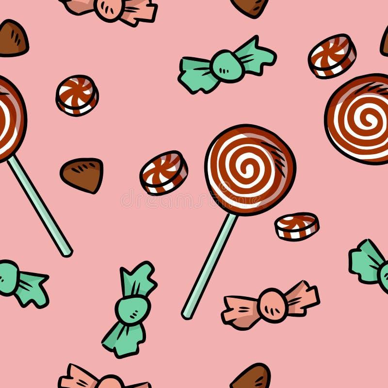 Modèle sans couture mignon de bonbons et de sucreries La bande dessinée tirée par la main de Noël gribouille le fond illustration libre de droits