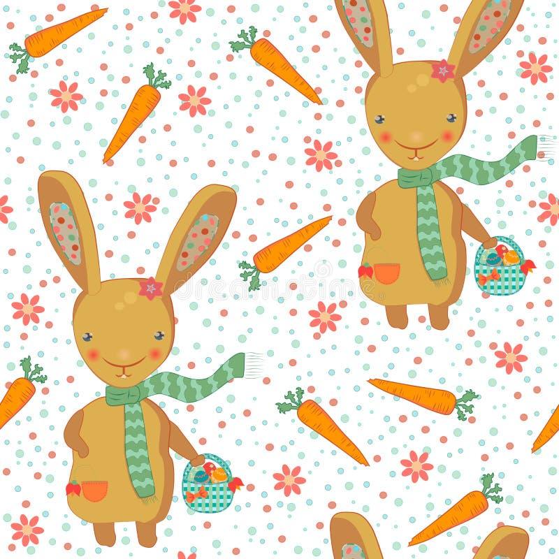 Modèle sans couture mignon de lapin de Pâques illustration stock