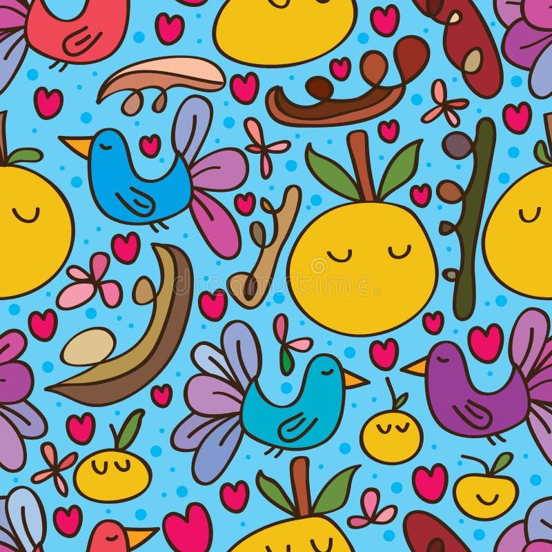 Modèle sans couture mignon orange d'oiseau illustration libre de droits