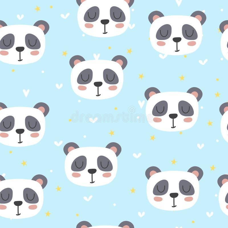 Modèle sans couture mignon pour des enfants avec le panda drôle Caractères de sourire illustration stock