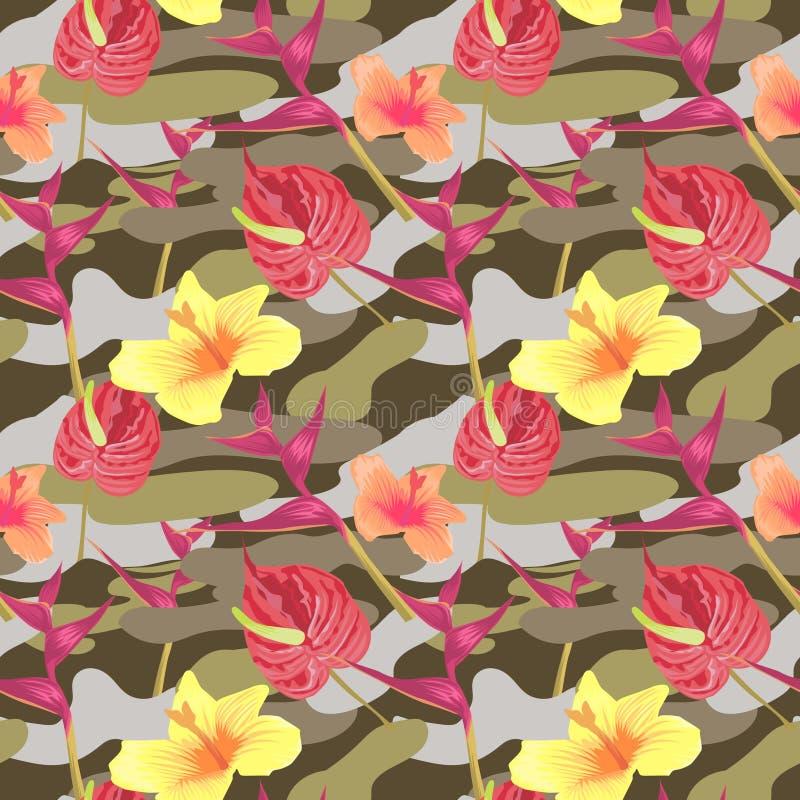 Modèle sans couture militaire avec les fleurs tropicales illustration de vecteur