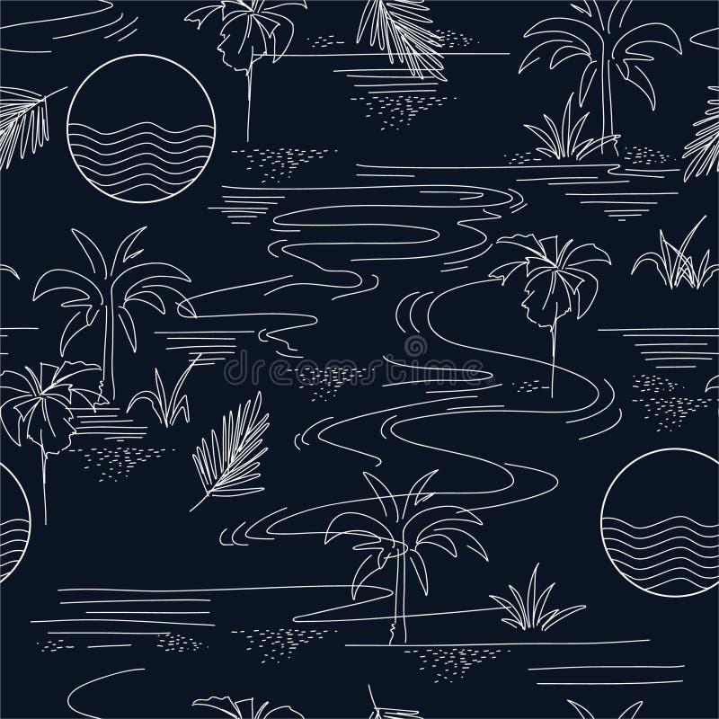 Modèle sans couture minimal dans le vecteur de l'humeur et du ton d'été d'île avec la ligne, la conception pour le papier peint d illustration stock