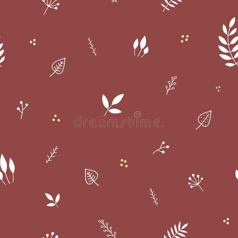 Modèle sans couture minimaliste floral illustration de vecteur