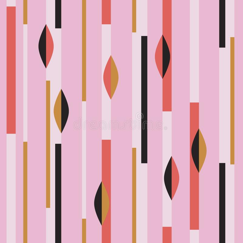Modèle sans couture moderne avec des rayures et des formes géométriques abstraites illustration de vecteur