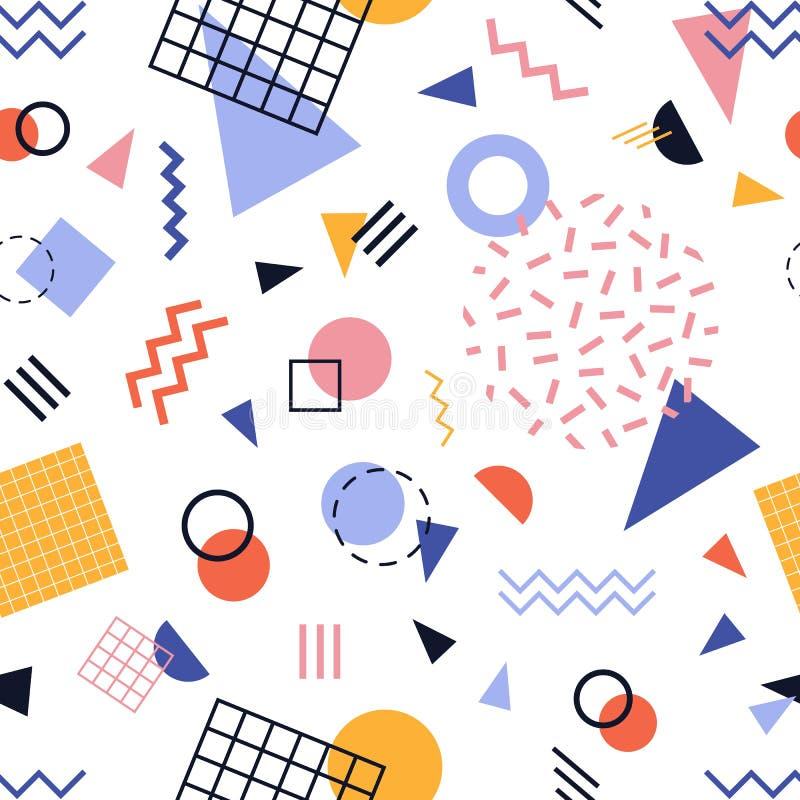 Modèle sans couture moderne avec les lignes colorées et les formes géométriques sur le fond blanc Contexte abstrait à la mode Vec illustration stock